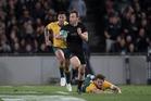 New Zealand All Blacks fullback Ben Smith on the break to set up Julian Savea's try. Photo / Brett Phibbs
