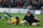 All Blacks Hooker, Dane Coles scores a try that was later disallowed against Australia during the Bledisloe Cup match at Eden Park on Saturday. 22 October 2016. New Zealand Herald photograph by Nick Reed.