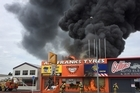 Fire at AH Franks Tyres on Anglesea St in Hamilton
