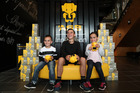 ASB launching new digital kids piggy bank Clever Kash with twins Kimora and Leeroy, 5, and brother Samson Matika, 11, at ASB HQ Wynyard Wharf. Photo / Getty