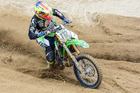 Mount Maunganui's Rhys Carter (3Twenty3 Racing Kawasaki KX450F), on his way to winning the MX Fest at Taupo on Sunday. Photo by Andy McGechan, BikesportNZ.com