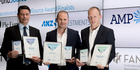 Category winners of the awards (L-R) Milford Asset Management Murray Harris, Fisher Fund's David McLeish and QuayStreet Asset Management Roy Cross. Photo / Dean Purcell