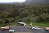 A truck rolled onto its side on SH29 near the summit of the Kaimai Range. Photo/John Borren