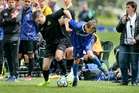 HARD GOING: Rovers player Zac Marsden (Blue) tussles with a Manurewa player in the 1-1 draw. PHOTO/Warren Buckland