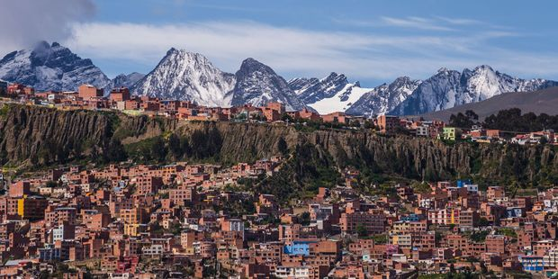 A view over La Paz in Bolivia. At elevations ranging between 3200 and 4100m above sea level, it's the highest capital city in the world. Photo / 123RF