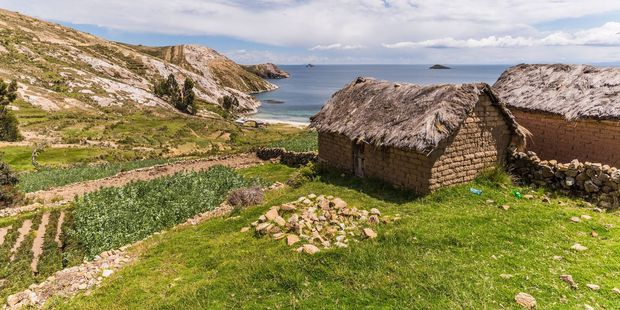 Simple dwellings on Isla de Sol, in the Bolivian portion of Lake Titicaca. Photo / 123RF
