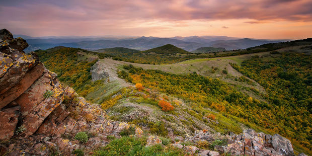 Sunset in Bulgaria's Rhodope Mountains. Photo / 123RF