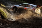 The gravel roads of Wales Rally GB are a favoured surface for Hayden Paddon and co-driver John Kennard. Picture / Vettas Media