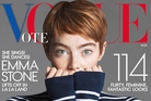 While actress Emma Stone is on the November cover - not Clinton - the word