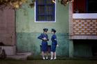 North Korean traffic police women in Pyongyang, North Korea. Photo / AP