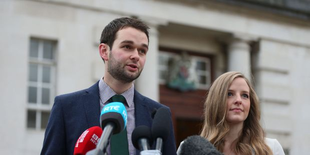 Daniel and Amy McArthur of Ashers Baking Company at Belfast High Court, Northern Ireland. Photo / AP