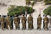 A man is tied to a wooden post as he is prepared to be executed by a firing squad at a police academy in the capital Mogadishu, Somalia in April this year. Photo / AP