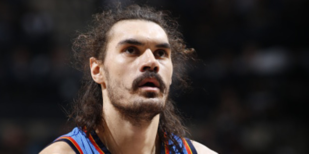 Steven Adams preferred to watch cartoons rather than the opening day of the 2016-17 NBA season yesterday. Photo / Chris Covatta