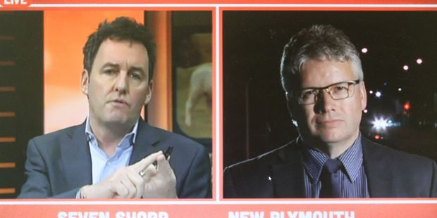 Seven Sharp commentator Mike Hosking (left) interviews New Plymouth mayor Andrew Judd.