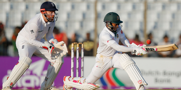 Bangladesh is looking for a historic victory, needing just 33 runs with two wickets remaining. Photo / AP