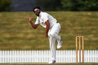Stags spinner Ajaz Patel during the Plunket Shield. Photo / Photosport