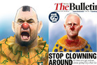 The Morning Bulletin featured a cartoon of Malcolm Turnbull wearing a clown nose and a floppy oversized bow-tie on its front page, echoing Herald cartoonist Rod Emmerson's controversial depiction.