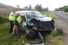 One of the vehicles involved in a fatal collision near Te Puke this afternoon. Photo/Stuart Whitaker