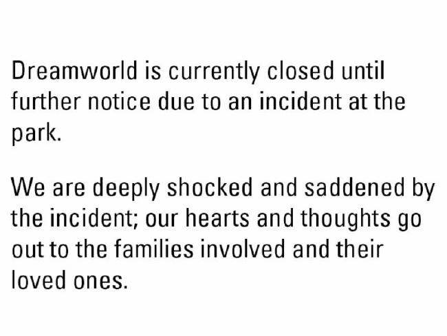 The Dreamworld website's colourful homepage has been replaced with this message. Photo / Supplied