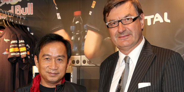 Chaleo Yoovidhya (left) and Founder and Chairman of Geox Mario Moretti Polegato. Photo / Getty