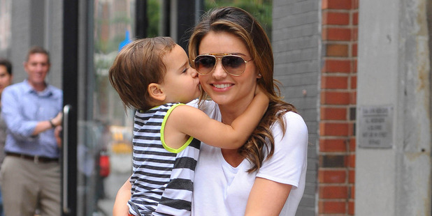 Model Miranda Kerr and her son Flynn Bloom as seen on July 31, 2013 in New York City. Photo / Getty