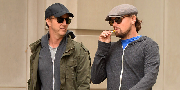 Edward Norton and Leonardo DiCaprio sighting on October 22, 2013 in New York City. Photo / Getty