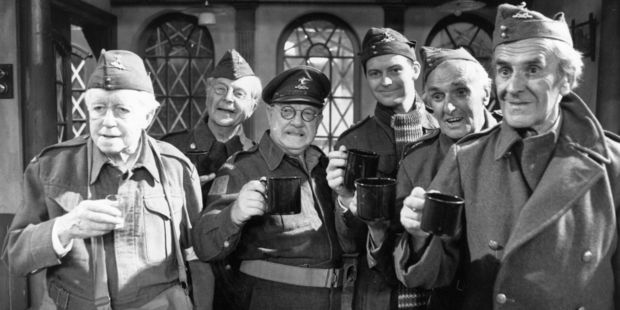 The cast of 'Dad's Army', a popular TV series depicting the activities of the Home Guard during the Second World War, pose for publicity photographs. Photo / Getty