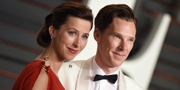 Actor Benedict Cumberbatch and wife Sophie Hunter arrive at the 2015 Vanity Fair Oscar Party. Photo / Getty