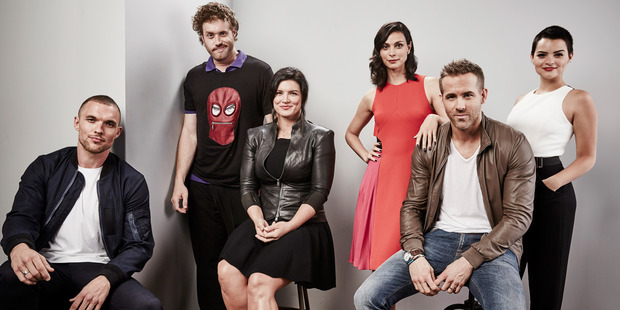 (L-R) Actors Ed Skrein, T.J. Miller, Gina Carano, Morena Baccarin, Ryan Reynolds, and Brianna Hildebrand of Deadpool pose for a portrait. Photo / Getty