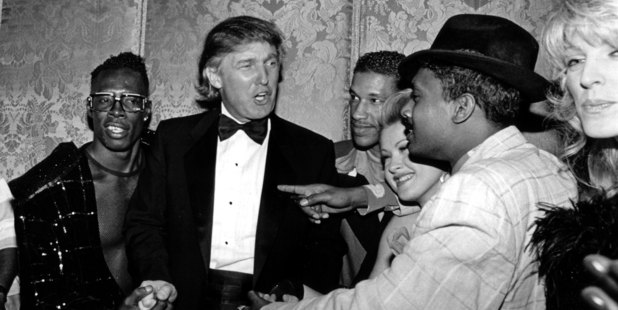 (L-R) Shabba Ranks, Donald Trump, Unidentifed, Cyndi Lauper, Unidentified and Marla Maples pose for a photo at a Grammy Awards party at the Plaza Hotel in February 1992. Photo / Getty