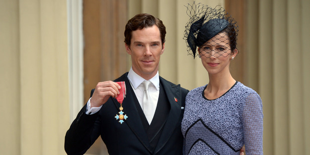 Actor Benedict Cumberbatch with his wife Sophie Hunter after receiving the CBE (Commander of the Order of the British Empire) from Queen Elizabeth II. Photo / Getty