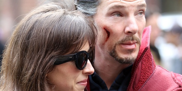 Benedict Cumberbatch with wife Sophie Hunter filming Doctor Strange; on April 2, 2016 in New York City. Photo / Getty