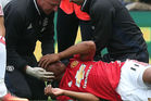 Anthony Martial of Manchester United receives treatment. Photo / Getty Images