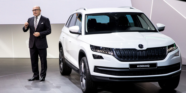 CEO of Skoda Bernhard Maier Skoda presents Kodiak, his latest new car, during the press preview of the Paris Motor Show. Photo / Getty