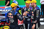 Jamie Whincup congratulates Shane Van Gisbergen at the Gold Coast 600. Photo / Getty Images