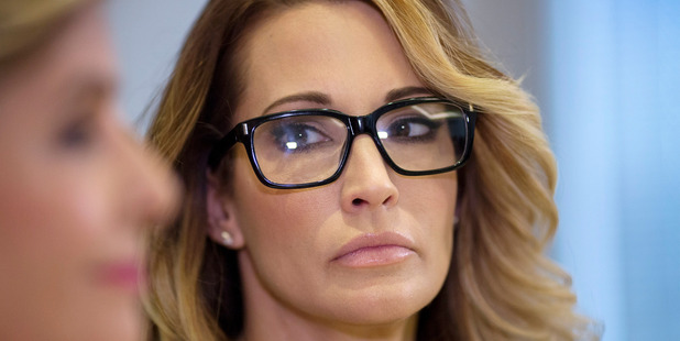 Jessica Drake looks towards attorney Gloria Allred during a press conference to accuse Republican presidential candidate Donald Trump of previous inappropriate sexual conduct. Photo / Getty
