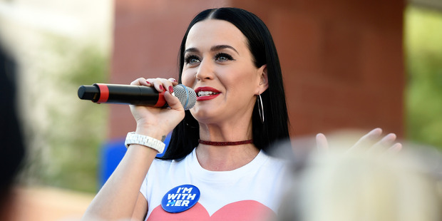 Singer Katy Perry speaks during a get out the early vote rally as she campaigns for Democratic presidential candidate Hillary Clinton. Photo / Getty