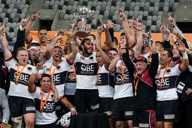 North Harbour players celebrate winning the Mitre 10 Championship. Photo / Getty