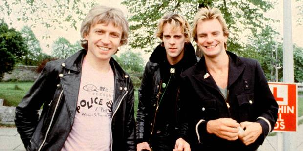 Photo of Andy SUMMERS and Stewart COPELAND and POLICE and STING; L-R: Andy Summers, Stewart Copeland, Sting - posed, group shot . Photo / Getty