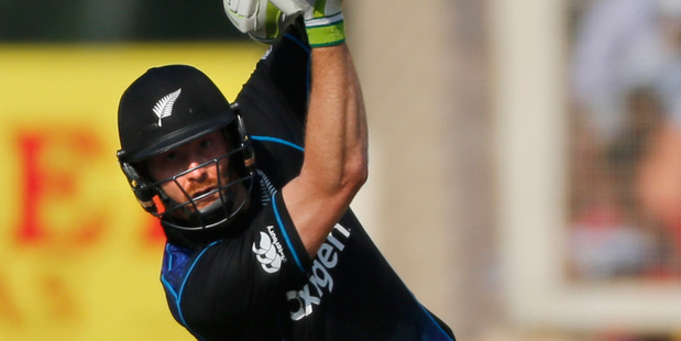 Martin Guptill drives during the fourth one-day international cricket match against India in Ranchi. AP/Photo