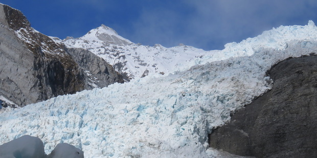 Walkers are transported to the glacier's heights by chopper. Photo / Justine Tyerman