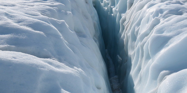 A crevasse on the glacier. Photo / Justine Tyerman