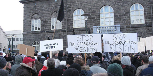 Icelandic economic crisis protest of 2008. Dom reckons NZ could learn a thing or two from Iceland. Photo / Haukurth