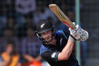 New Zealand's one-day cricket team captain Kane Williamson plays a shot against India. Photo / AP