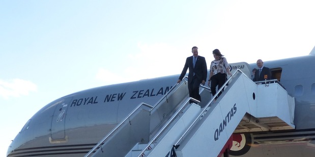 John Key and his wife Bronagh disembarking the Air Force Boeing earlier this year in Sydney. Photo/ Audrey Young