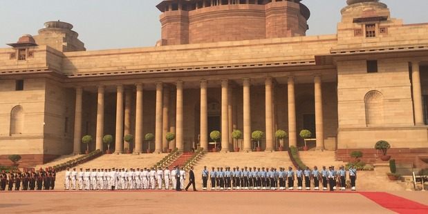 Prime Minister John Key inspects the welcome guard at the Rashtrapati Bhavan forecourt at the presidential Palace. Photo/ PM's office