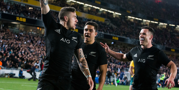TJ Perenara celebrates after scoring a try in Saturday's Bledisloe Cup match. Photo / Photosport