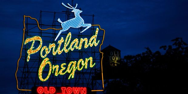 The White Stag sign at the west end of The Burnside Bridge, Portland. Photo / Jamie Francis