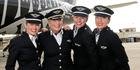 An all-female flight crew that flew an Air New Zealand 777 from London to Auckland.