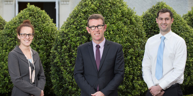 Loading Mt Albert Grammar headmaster Patrick Drumm (centre) says teachers Jenny Bates (left) and Steve Sharp are leaving MAGS because Auckland house prices are so expensive. Photo / Nick Reed